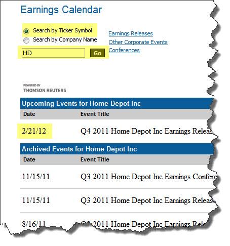 earnings calendar