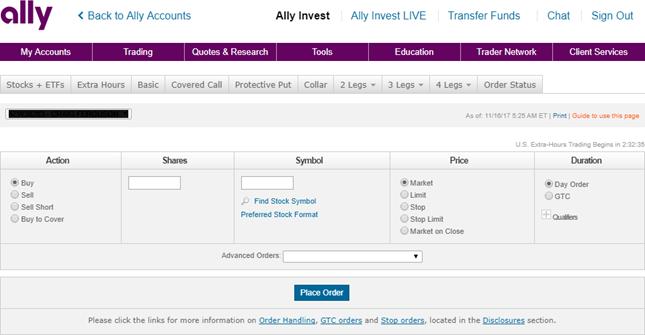 ally trading screen