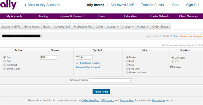 order screen from ally