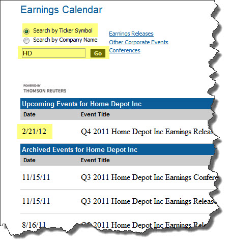 earnings calendar