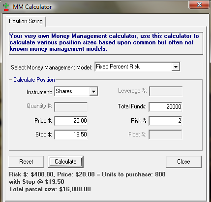Screenshot of Money Management Calculator